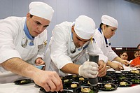 Culinary arts students. Johnson and Wales University, Wine and Spirits Expo, Miami Beach Convention Center, Florida. USA.