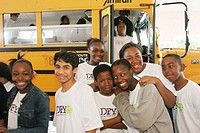 Youth Summit, students, school bus. Drug Free Youth In Town, Miami. Florida. USA.