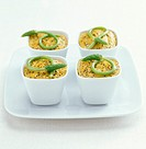 Mini carrot flans with poppyseeds and wild asparagus