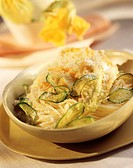 Vermicelli pasta with courgette flowers and courgette tempura