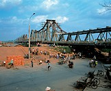 The Chuong Duong Bridge across the Red River, Vietnam
