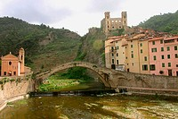 Old bridge in Dolceacqua. Liguria, Italy