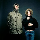 Couple wearing parka jackets