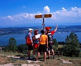 adventure, couples, fish, footpath, group, Hiking, holidays, mount, Murtensee, Lake Murten, nature, oil, pairs, sign