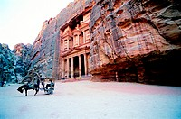 Horse carriage in front of Al Khazneh (The Treasury), Petra, Jordan