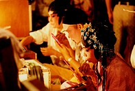 Chinese opera performers, applying make up, Penang, Malaysia