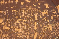 The Newspaper Rock Historical Monument is a petroglyph panel that has symbols etched by several different cultures.
