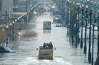 New Orleans, Louisiana. Monday, September 5 2005. National Guard troops patrol the flooded businesses and streets of downtown New Orleans. Hurricane K...