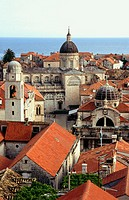 Cathedral and St. Blaise's Church from the town walls, Dubrovnik. Dalmatia, Croatia