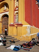 Vendors in front of cathedral, San Cristóbal de las Casas. Chiapas, Mexico