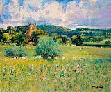 Meadows At Weston Subedge, Warwickshire- Afternoon, August 2003 Charles Neal (b.1951/British) Oil on panel