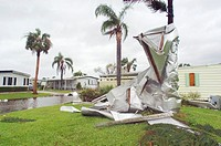 Hurricane damage. Mobile home roof wrapped around a palm tree at Village Green Community near Vero Beach, Florida, USA, after Hurricane Jeanne. Jeanne...