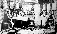 Johannes Hevelius (1611-1687), Polish astronomer (centre) at a meeting, historical artwork. Hevelius was the founder of lunar topography: in 1647 he p...