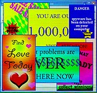 Internet advertising. Computer artwork showing internet ´pop-up´ advertisements. Pop-ups occur when a user is browsing the internet and opens a websit...