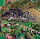 Nant Helen open cast coal mine, UK, aerial photograph. Open cast mines are those where the coal is removed from the surface, rather than from beneath ...