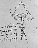 Parachute designed by Leonardo da Vinci (1452- 1519) in the late 1400s. This was a pyramid of linen cloth on a frame. Although sound in theory, like m...