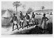 Slaves. Engraving from ´Le Tour du Monde´