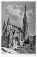 St. Stephens Cathedral, Vienna, Austria. Engraving from 'Le Tour du Monde'