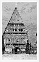 Knochenhauer-Amtshaus (Butchers´ Guild Hall), Hildesheim, Germany. Engraving from ´Le Tour du Monde´