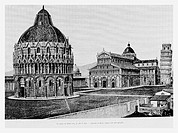 Baptistery, Duomo and Leaning Tower, Pisa, Italy. Engraving from 'Le Tour du Monde'