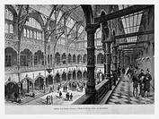 Stock Exchange building, Antwerp, Belgium. Engraving from 'Le Tour du Monde'