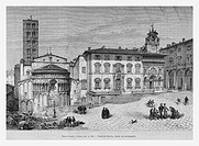 Piazza Grande, Arezzo, Italy. Engraving from 'Le Tour du Monde'