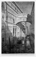 Bridge of Sighs, Venice, Italy. Engraving from 'Le Tour du Monde'