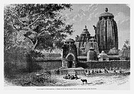 Great temple of Bhuvaneshwara, India. Engraving from 'Le Tour du Monde'