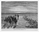 Crossing the Pampas, Argentina. Engraving from 'Le Tour du Monde'