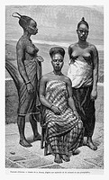 Women of Elmina, in Ghana. Engraving from 'Le Tour du Monde'