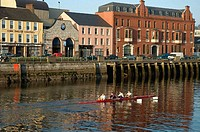 Canoeists. Cork, city on the banks of river Lee. Ireland.