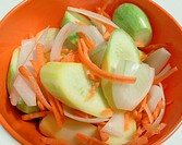 Bowl of sliced fresh squash, carrots and onions