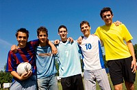 Group of teenage soccer friends