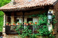 Balcony at typical house. B&#225;rcena la Mayor, Cantabria. May 2005