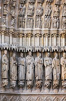 Close-up of statues of Saints decorating the doorway of the Cathedral of Amiens. Amiens. France