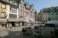 Half-timbered houses of historic market square in the city center.  Cochem. Moselle River Valley. Germany