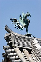 Phenix (Mythical Bird) on the rooftop of Byodoin temple in Uji. Kyoto prefecture, Kansai. Japan