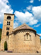 Romanesque church of Sant Crist&#242;fol (s. XII), Beget. Pyrenees mountains, Catalonia, Spain