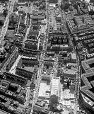 Aerial view of Petticoat Lane street market, Aldgate, London, August 1961.