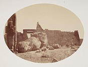 Albumen print of the fallen statue of Rameses. Dimensions 14.6 x 19.8cm.
