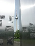 The Fernsehturm (Television Tower) near Alexanderplatz is seen here through an art installation in the adjacent park. The tower was completed in 1969,...