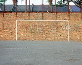 Football goal painted on wall