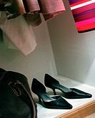 High heeled shoes in wardrobe