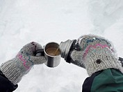 Pouring a warm drink
