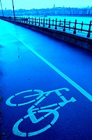 Bicycle lane by the Danube river. Buda. Budapest. Hungary