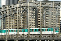 Metro on the Austerlitz bridge. Buildings of Gare de Lyon district. 12th district. Paris. France.