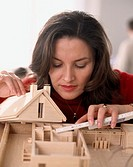 10291936, architect, architect, woman, construction, wood, measure, model, look, residential building,