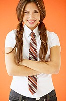 Portrait of teenage girl wearing tie