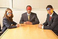 Portrait of business people wearing face paint