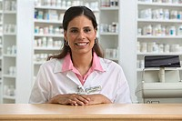 Portrait of female pharmacist in drug store